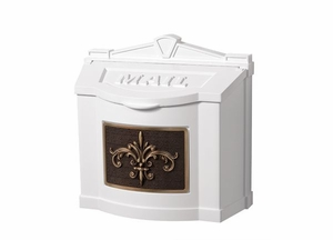 Fleur de Lis Wall Mount Mailbox - White with Antique Bronze