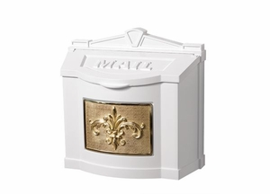 Fleur de Lis Wall Mount Mailbox - White with Polished Brass