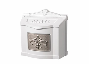 Fleur de Lis Wall Mount Mailbox - White with Satin Nickel