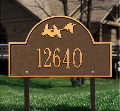 Flying Duck Arch - Standard Lawn Address Sign - One Line
