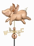 Flying Pig Weathervane - Polished Copper