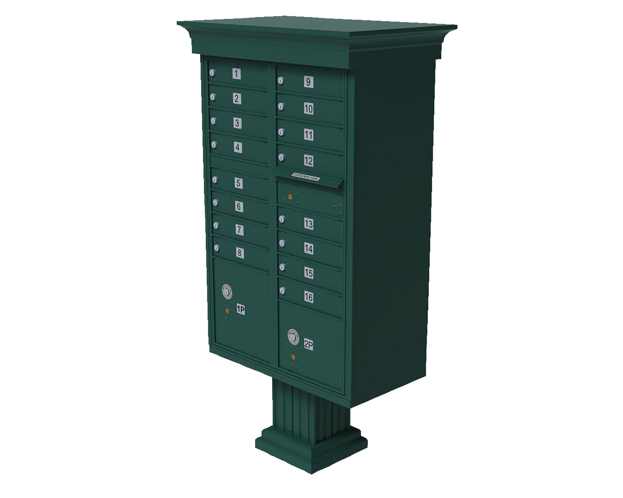 16 Door Cbu Mailbox With Crown Green Auth Florence