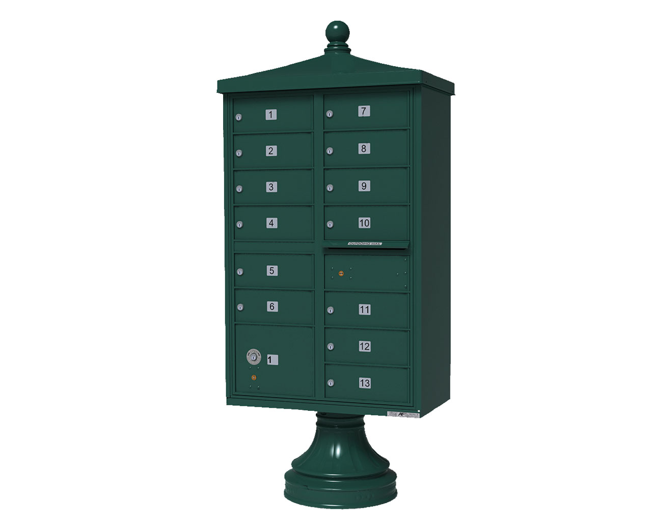 13 door cbu mailbox with finial green auth florence for Auth florence