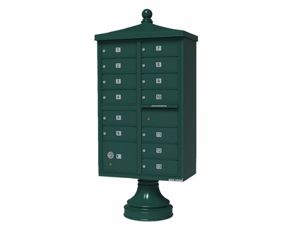 Forest Green Cluster Box Unit with Finial Cap and Traditional Pedestal accessories - 13compartment