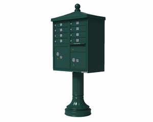 Forest Green Cluster Box Unit with Finial Cap and Traditional Pedestal accessories - 8 compartment