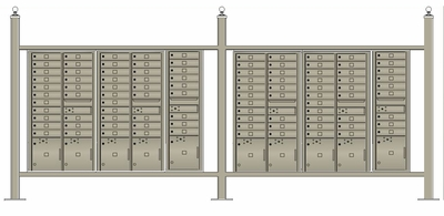 Free standing vario EXPRESS mail station kit with 4C mailboxes (98 tenant doors and 10 parcel lockers)