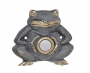 Whitehall Froggie Doorbell (Solid Brass) - Verdigris Finish