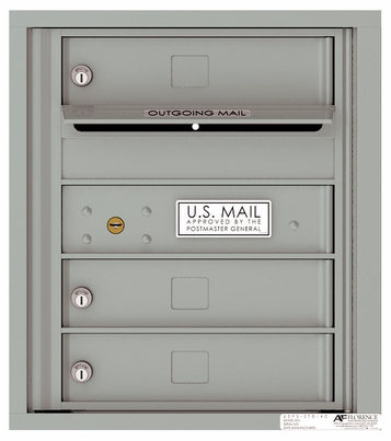 Front Loading 4C Commercial Mailbox with 3 Tenant Doors