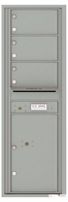 Front Loading Commercial Mailbox - 3 Tenant Doors and 1 Parcel Locker - Single Column