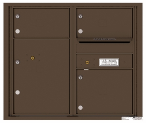 Rear Loading Double Column Commercial Mailbox with 3 Tenant Doors and 1 Parcel Locker