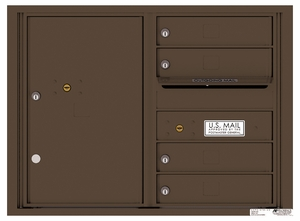 Rear Loading Double Column Commercial Mailbox with 4 Tenant Compartments and 1 Parcel Locker