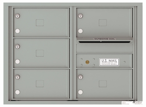 Front Loading Double Column Commercial Mailbox with 5 Tenant Compartments