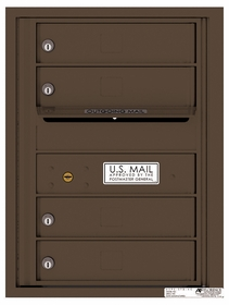 Rear Loading Single Column Commercial Mailbox with 4 Extra-Large Tenant Compartments