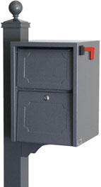 Delivery Vault Junior- Full Service Lockable Curbside Mailbox - gray
