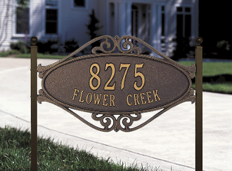 Hackley Fretwork - Standard Lawn Address Sign - Two Line
