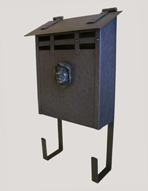 Handmade Vertical Wall Mounted Arts and Crafts Hammered Antique Mailbox with Decorative Monk