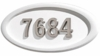 Housemark Large Oval Address Plaques White with Satin Nickel Numbers