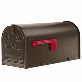Janzer Mailbox - Residential Post Mount in Textured Bronze