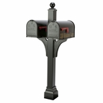 Janzer Multi-Mount Double Mailbox Post - Textured Black (Optional Mailboxes Available)
