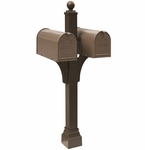 Janzer Multi-Mount Double Mailbox Post - Textured Bronze (Optional Mailboxes Available)