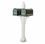 Janzer Multi-Mount Double Mailbox Post - Textured White (Optional Mailboxes Available)