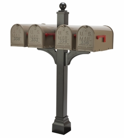 Janzer Multi-Mount Quad Mailbox Post - Textured Black (Optional Mailboxes Available)