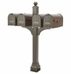 Janzer Multi-Mount Quad Mailbox Post - Textured Bronze (Optional Mailboxes Available)