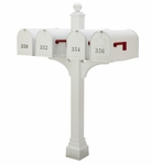 Janzer Multi-Mount Quad Mailbox Post - Textured White (Optional Mailboxes Available)