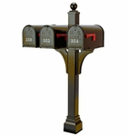 Janzer Multi-Mount Triple Mailbox Post - Textured Bronze (Optional Mailboxes Available)