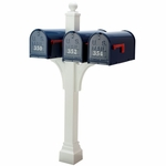 Janzer Multi-Mount Triple Mailbox Post - Textured White (Optional Mailboxes Available)