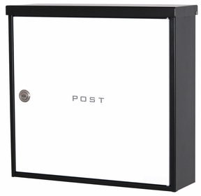 Knobloch Beverly Locking Surface Mount Mailbox in Deep Black / Traffic White