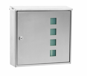 Knobloch Chicago Design E Locking Surface Mount Mailbox in Brushed Stainless Steel