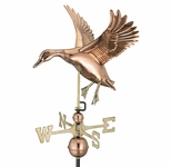 Landing Duck Weathervane - Polished Copper