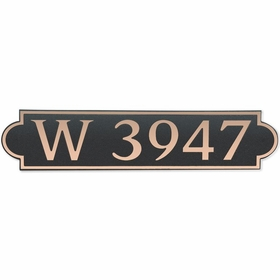 Large Horizontal Wall Mount Address Plaque Copper Black - Rounded