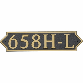 Large Horizontal Wall Mount Address Plaque Gold Black - Pointed