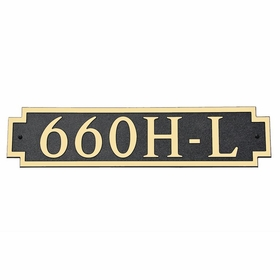 Large Horizontal Wall Mount Address Plaque Gold Black