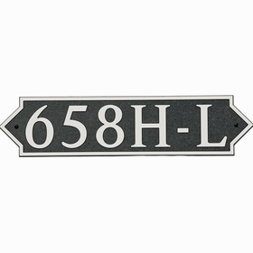 Large Horizontal Wall Mount Address Plaque Nickel Black - Pointed