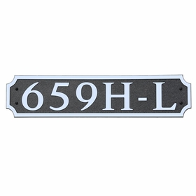 Large Horizontal Wall Mount Address Plaque Nickel Black - Square