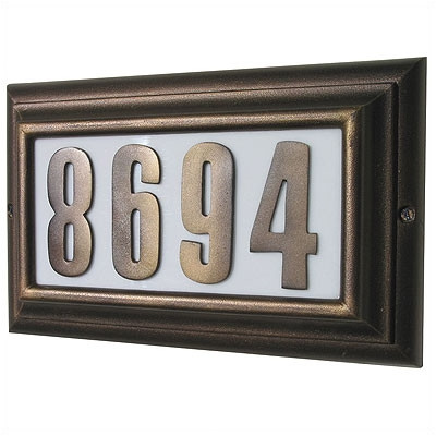 Edgewood Large Lighted Address Plaque with Raised Black Polymer Numbers