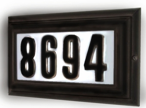 Edgewood Large Lighted Address Plaque with Cast Aluminum Numbers - Oil Rubbed Bronze Frame