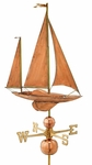 Large Sailboat Weathervane - Polished Copper