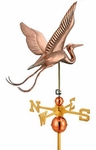 "Large Signature Series 34 Inch Blue"" Heron Copper Weathervane - 34""L X 30""H X 34"" Wingspan"