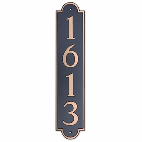 Large Vertical Wall Mount Address Plaque Copper Black - Rounded