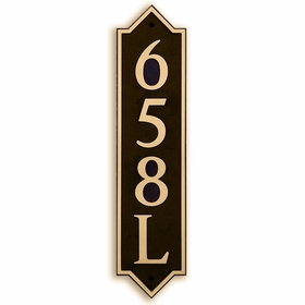 Large Vertical Wall Mount Address Plaque Gold Black - Pointed