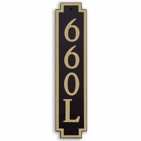 Large Vertical Wall Mount Address Plaque Gold Black