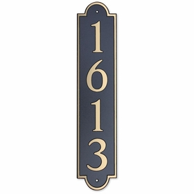 Large Vertical Wall Mount Address Plaque Gold Black - Rounded