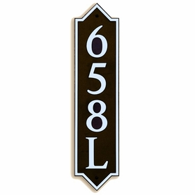 Large Vertical Wall Mount Address Plaque Nickel Black - Pointed