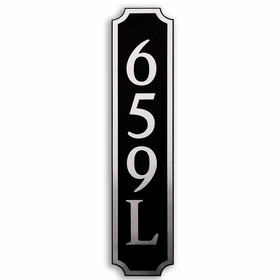 Large Vertical Wall Mount Address Plaque Nickel Black - Square