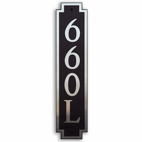Large Vertical Wall Mount Address Plaque Nickel Black