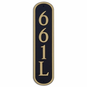 Large Vertical Wall Mount Oval Address Plaque Gold Black
